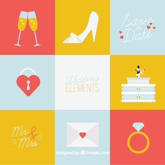 Kolorowe opakowanie elementów weselnych w płaskim stylu