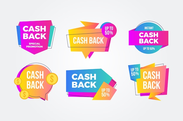 Kolorowe opakowanie etykiet cashback