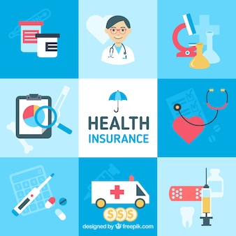 Kolorowe opakowanie ilustracji ubezpieczenia zdrowotnego