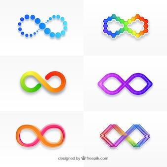 Kolorowe opakowanie symboli nieskończoności