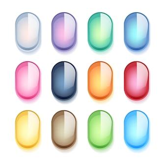 Kolorowe owalne perły szklane kamienie zestaw ilustracji.