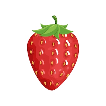 Kolorowe owoce. ikona truskawka. jagody i owoce w stylu płaskiej kreskówki, na białym tle. zdrowy styl życia lub wegetariańska koncepcja żywności.