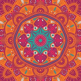 Kolorowe ozdobne kwiatowy etniczne mandali