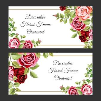 Kolorowe ozdobne ramki z ornamentem kwiatów i liści