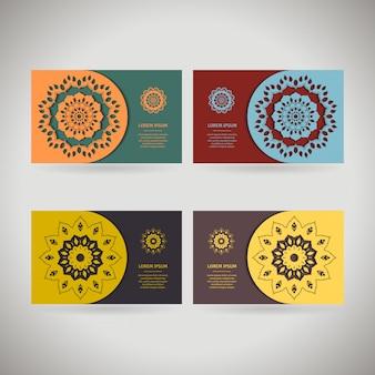 Kolorowe ozdobne szablon wizytówki