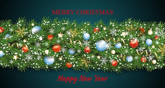 Kolorowe ozdoby świąteczne na granicy i girlanda szczęśliwego nowego roku.