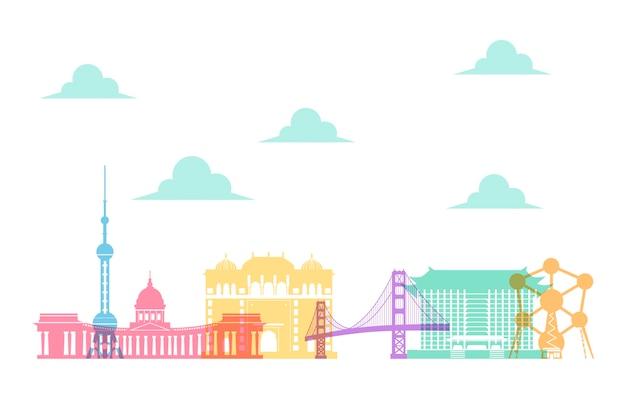 Kolorowe panoramiczne motywy tematyczne