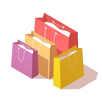 Kolorowe papierowe torby na zakupy.
