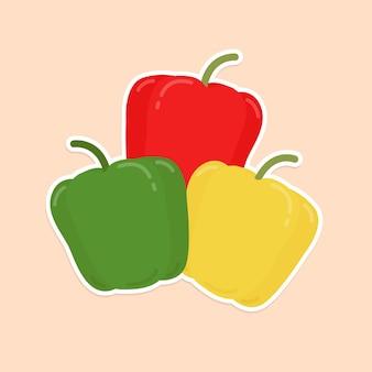 Kolorowe papryki żywności naklejki clipart