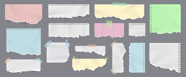 Kolorowe paski do notatników i kartki z podartymi krawędziami. realistyczne podarte kawałki zeszytu z taśmą klejącą. zmięte karteczki samoprzylepne wektor zestaw