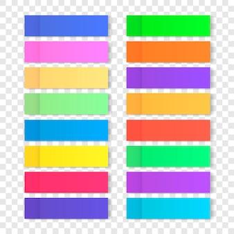 Kolorowe patyczki biurowe do projektowania. zestaw naklejek na przezroczystym tle. papierowa taśma klejąca z cieniem.