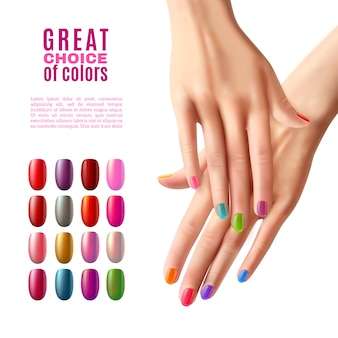 Kolorowe paznokcie zestaw hands manicure poster