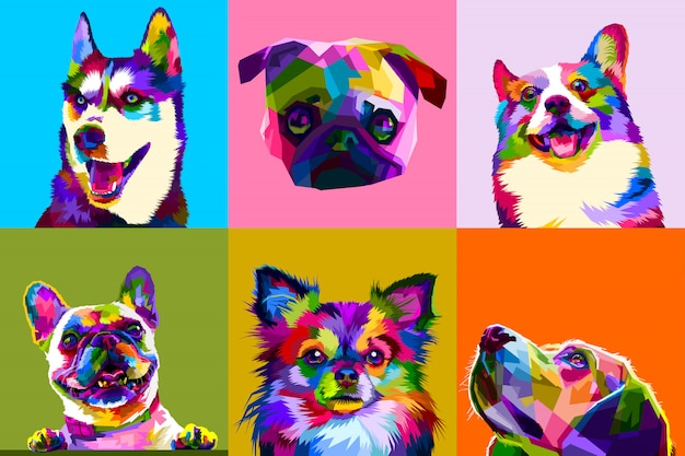 Kolorowe pies ustawia na pop art
