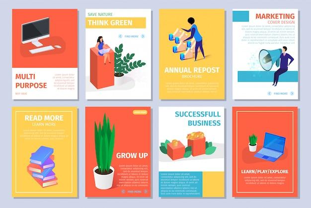 Kolorowe pionowe banery zestaw z miejsca na kopię.