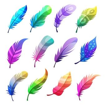 Kolorowe pióra. stylizowane ozdobne plemienne ozdoby na pióra ptaków ilustracje wektorowe zestaw. stylizowana dekoracja z piór plemiennych, ozdobne skrzydło doodle