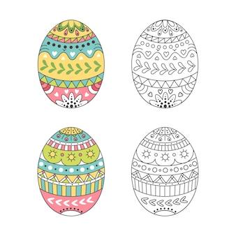 Kolorowe pisanki z wzorami doodle. jajko do kolorowania. wystrój wakacji wiosennych.