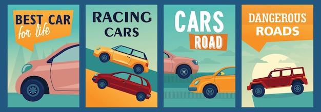 Kolorowe plakaty ze stylowymi samochodami.