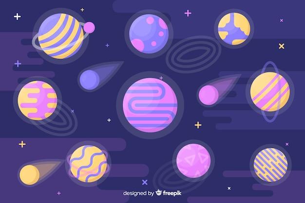 Kolorowe planety w kolekcji układu słonecznego