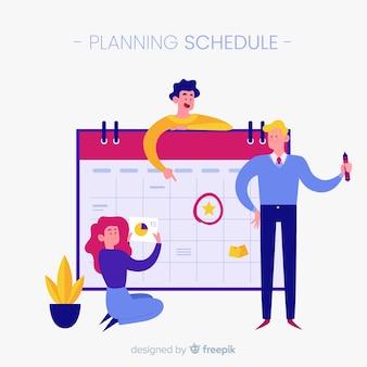 Kolorowe planowanie koncepcja harmonogramu z Płaska konstrukcja