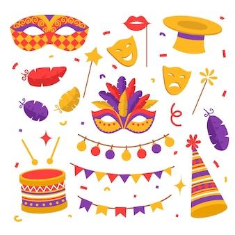 Kolorowe płaskie elementy karnawałowe, maski, konfetti z flagami, bęben i piórko, magiczna różdżka i kapelusz