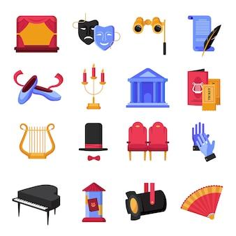 Kolorowe płaskie ikony teatru z instrumentów muzycznych i rekwizytów