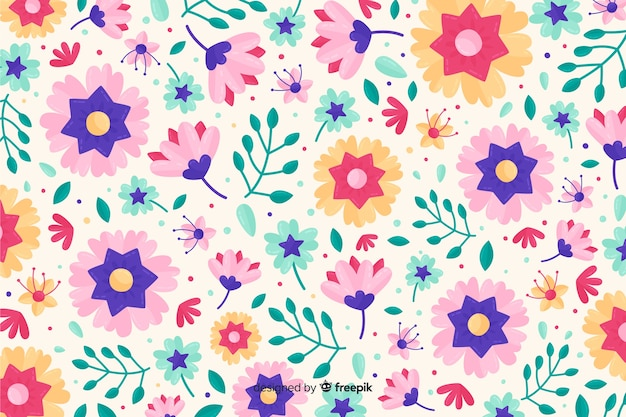 Kolorowe płaskie kwiaty ozdobne tło