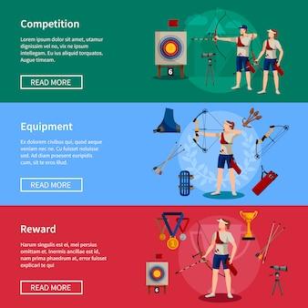 Kolorowe płaskie poziome sztandary łucznicze z nagrodami dla graczy i niezbędnym wyposażeniem