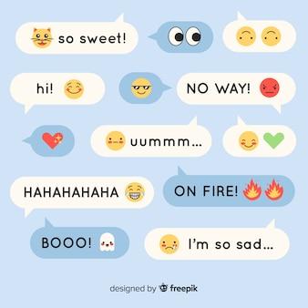 Kolorowe, płaskie wiadomości zawierające emoji