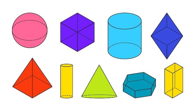 Kolorowe płaskie wolumetryczne podstawowe kształty geometryczne czarny kontur prosta figura d z przerywanymi niewidocznymi liniami kształtu widoki izometryczne kula sześcian stożek cylindra i inne izolowane ilustracji wektorowych