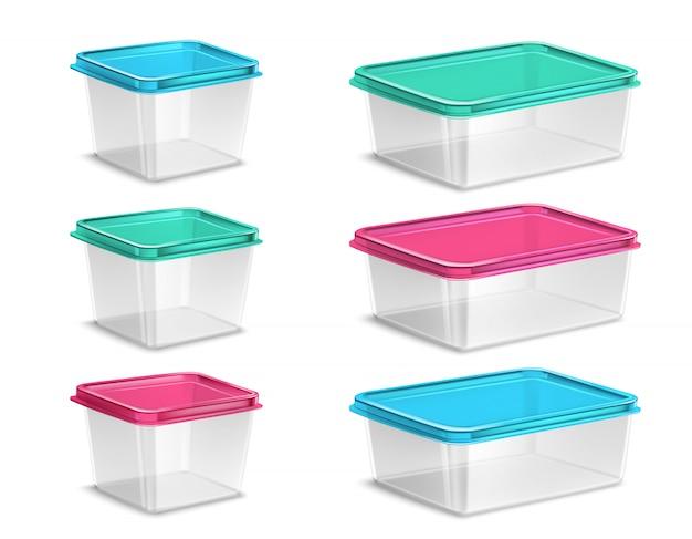 Kolorowe plastikowe pojemniki na żywność