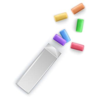 Kolorowe płatki gumy balonowej. gumy do żucia