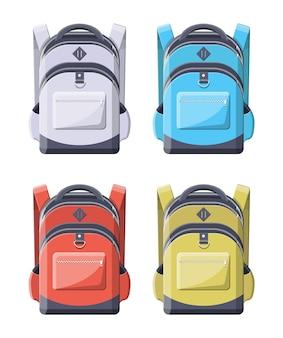 Kolorowe plecaki szkolne. powrót do szkoły. plecak do szkoły, nauki, podróży, wędrówek i pracy. haversack, plecak. tornister, bagaż i bagaż.
