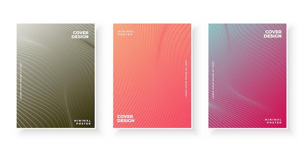 Kolorowe pokrowce gradientowe z zestawem wzorów linii