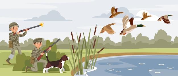 Kolorowe polowanie poziome banery z myśliwymi strzelającymi do latających dzikich kaczek w pobliżu stawu