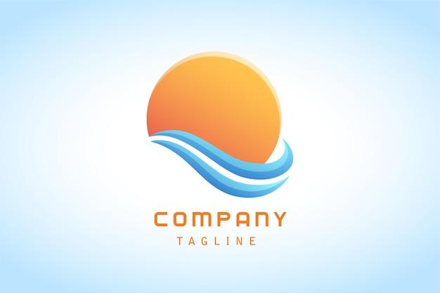 Kolorowe pomarańczowe słońce i niebieskie logo gradientowe naklejki fal