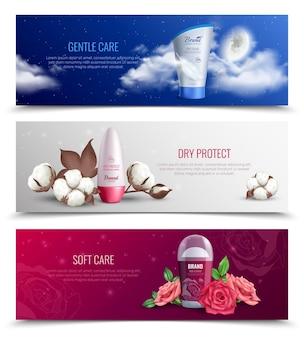 Kolorowe poziome banery przedstawiające dezodorant zapewniający delikatną i miękką pielęgnację oraz ochronę przed wilgocią realistycznie