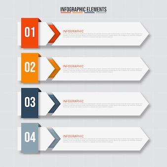 Kolorowe prostokątne elementy infografiki, koncepcja modelu biznesowego z 4 kolejnymi krokami.