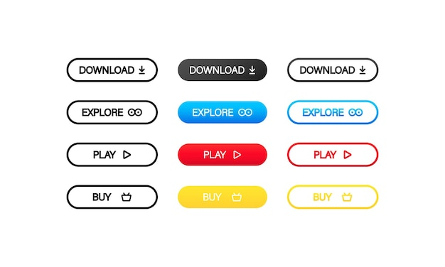 Kolorowe przyciski do pobierania, przeglądania, odtwarzania i kupowania stron internetowych. wektor na na białym tle. eps 10.