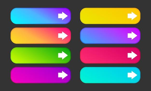 Kolorowe przyciski gradientu ze strzałkami. zestaw ośmiu nowoczesnych streszczenie sieci web przycisków. ilustracja wektorowa