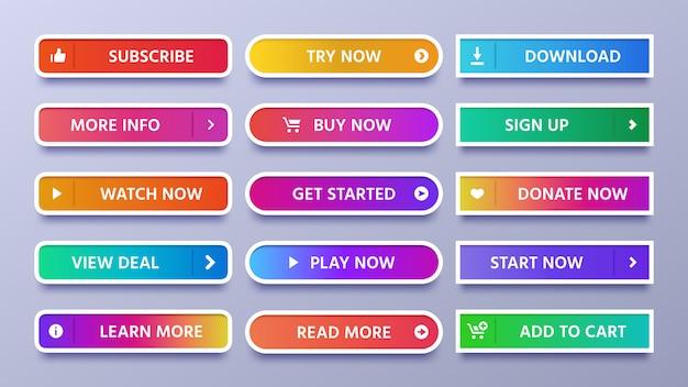 Kolorowe przyciski gradientu. żywy przycisk web z ikoną lub strzałką, zaloguj się i zasubskrybuj zestaw ikon na białym tle