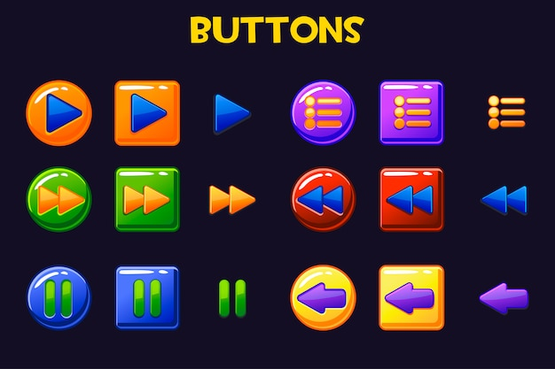 Kolorowe przyciski interfejsu gry, przycisk kreskówki