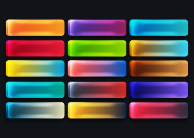 Kolorowe przyciski sieci web gradientu ustawione w różnych kolorach