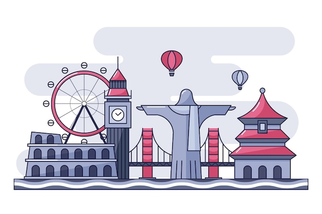 Kolorowe punkty orientacyjne panoramę koncepcji