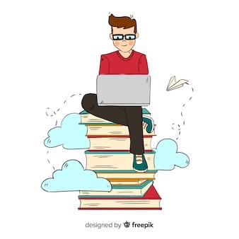 Kolorowe ręcznie rysowane koncepcja edukacji