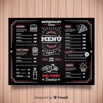 Kolorowe ręcznie rysowane szablon menu restauracji
