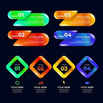 Kolorowe realistyczne błyszczące i błyszczące szablony infographic