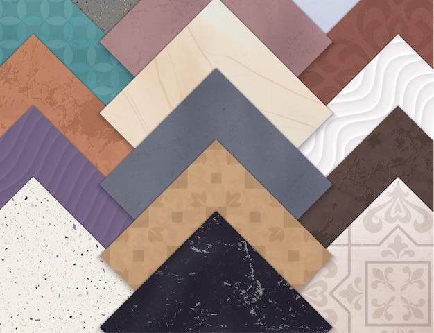 Kolorowe, realistyczne, ceramiczne płytki podłogowe, zestaw poziomy z kwadratami różnych rodzajów i stylów płytek
