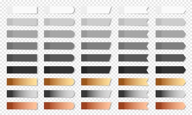 Kolorowe realistyczne karteczki na białym tle. zestaw zakładek papierowych wektor o różnych kształtach - prostokąt, strzałka, flaga. kolekcja białych, szarych, czarnych, złotych, srebrnych i brązowych notatek pocztowych