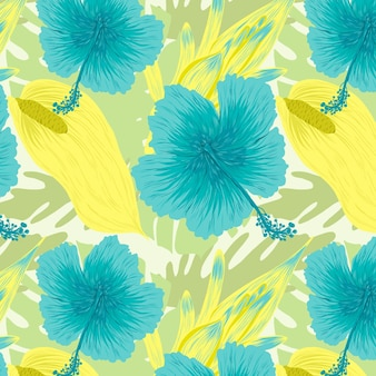 Kolorowe ręcznie malowane egzotyczne kwiaty i liście
