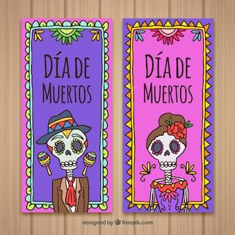 Kolorowe ręcznie narysowane transparenty dzień śmierci